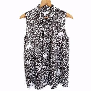 Cabi black white floral pattern blouse bow collar